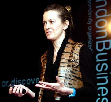 "Suzanne Lee giving a TED Talk on ""grow your own clothes"""