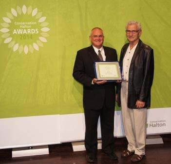 Sean James with his Conservation Halton award.