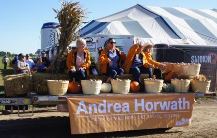 The NDP had fresh farm produce on their float.