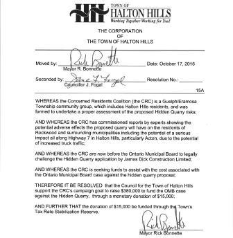 Halton Hills Council motion