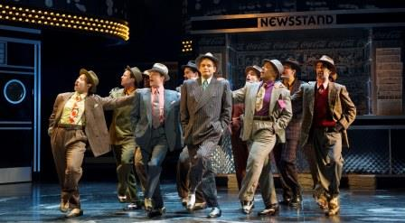 Shawn Wright as Nathan Detroit with the cast from Guys and Dolls. Photo by David Cooper.