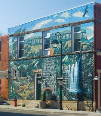 The Niagara Escarpment mural at the corner of Main St. & Wesleyan in downtown Georgetown