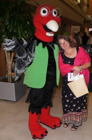 Gloria snuggled up with Conservation Halton's mascot Professor TV, animated by Robert Dallimore.
