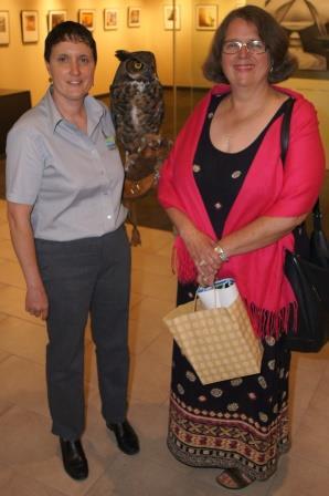 Gloria got close to Octavius, a female Great Horned Owl held by Sandra Davey, Mountsberg Raptor Centre lead.