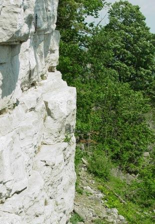 The sheer cliff edges of the Niagara Escarpment pose dangers both from above and below. Photo by Mike Davis.